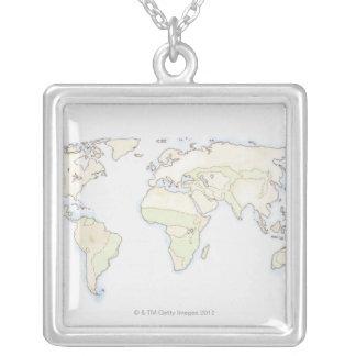 Collier Carte illustrée 2 du monde