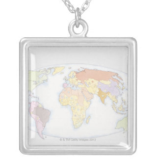 Collier Carte illustrée 3 du monde