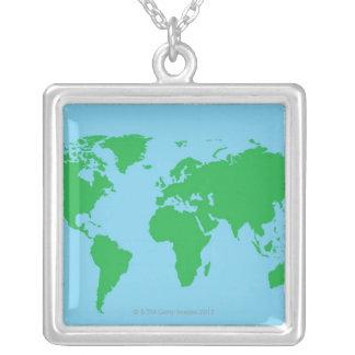 Collier Carte illustrée du monde