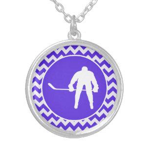 Collier Chevron violet bleu ; Hockey
