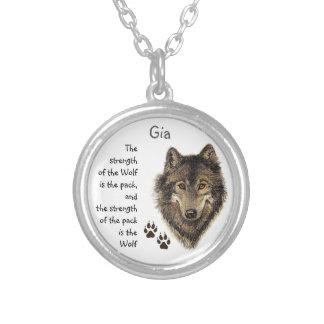 Collier Citation de force de famille de meute de loups,