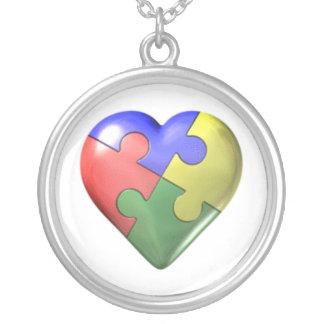 Collier Coeur de puzzle d'autisme
