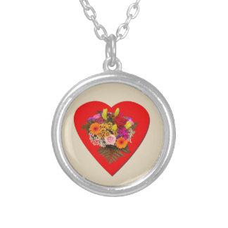 Collier Coeur et fleurs