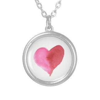 Collier Coeur rose et rouge d'aquarelle