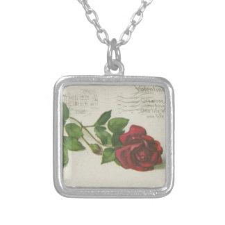 Collier Copie de lettre de timbre de rose de cru