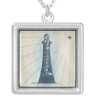 Collier Copie marine de phare noir avec le cadre bleu