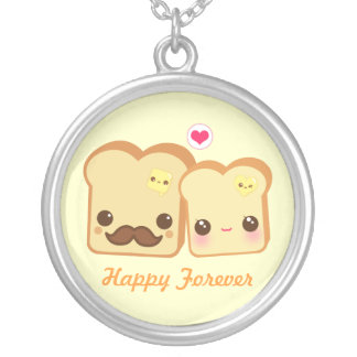 Collier Couples mignons de pains grillés de Kawaii