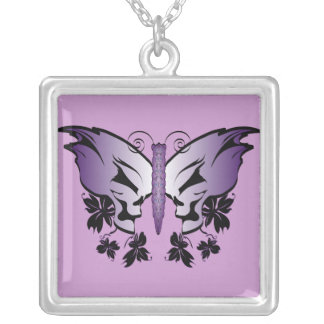 Collier Crâne de papillon - pourpre