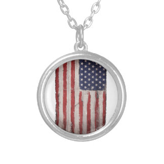 Collier Cru grunge en bois de drapeau américain