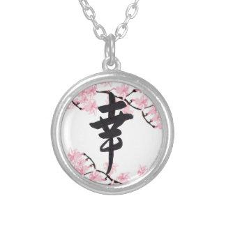 Collier de bonheur de kanji de fleurs de cerisier