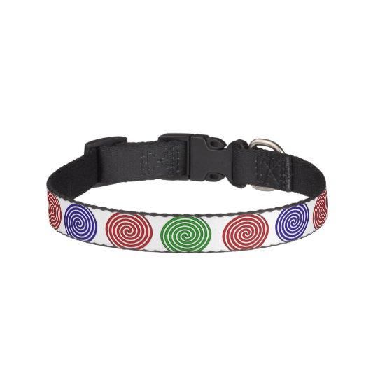 Collier de chien - décor en spirale coloré
