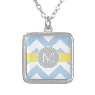 Collier de monogramme de rayure de citron de pendentif carré