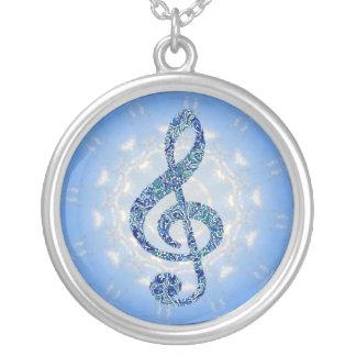 Collier de note de musique - clef triple bleue