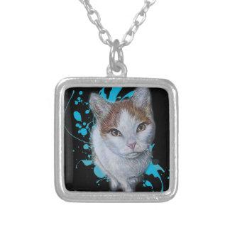 Collier Dessin d'art de chat avec la peinture bleue