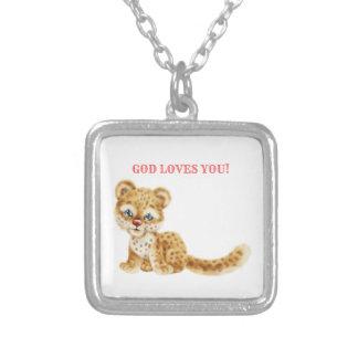 Collier Dieu vous aime bébé sauvage de guépard de jungle