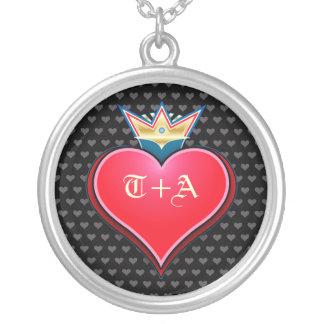 Collier doux d'initiales de personnaliser de coeur