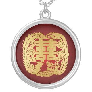 Collier Dragon et Phoenix - double symbole de bonheur