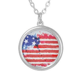 Collier drapeau américain grunge d'aquarelle