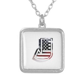 Collier Drapeau patriotique des Etats-Unis d'initiale de