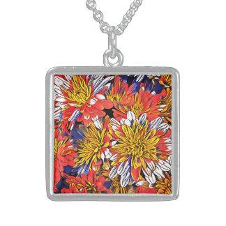 Collier En Argent Art floral coloré
