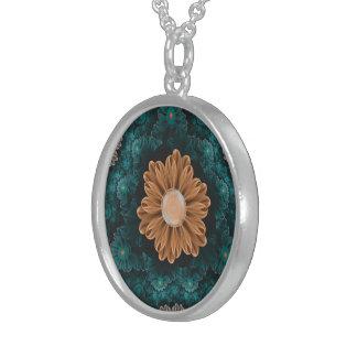 Collier En Argent Beau chrysanthème de paradis d'orange et d'Aqua