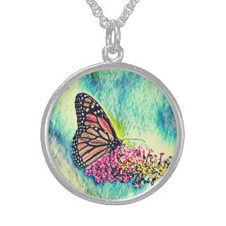 Collier En Argent Beaux bijoux d'art de papillon