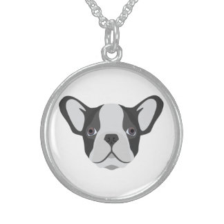 Collier En Argent Bouledogue français mignon d'illustration
