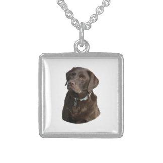 Collier En Argent Portrait de photo de Labrador de chocolat