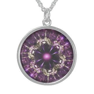 Collier En Argent Purple Flower