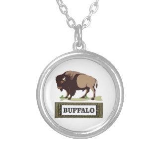 Collier étiquette brune de buffle