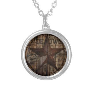 Collier Étoile solitaire en bois du Texas de pays