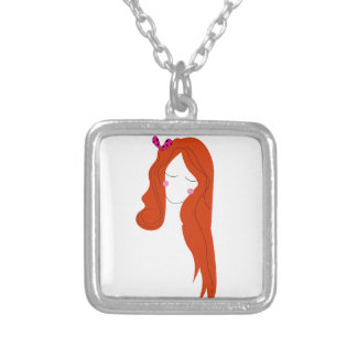 Collier Femme de conception avec de longs cheveux sur le