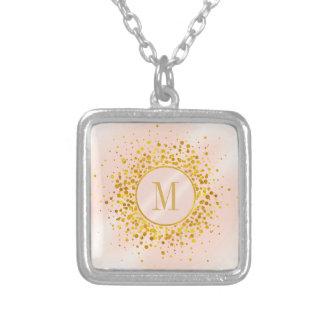 Collier Feuille d'or rose ID445 de monogramme de confettis