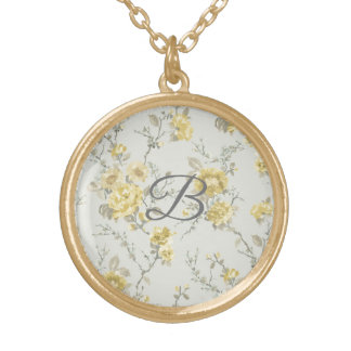 Collier floral vintage personnalisé de monogramme