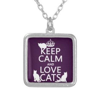 Collier Gardez le calme et aimez les chats (dans toute