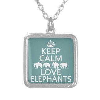 Collier Gardez le calme et aimez les éléphants (les