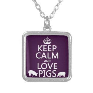 Collier Gardez le calme et aimez les porcs (toutes les