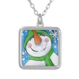 Collier Givré le bonhomme de neige heureux
