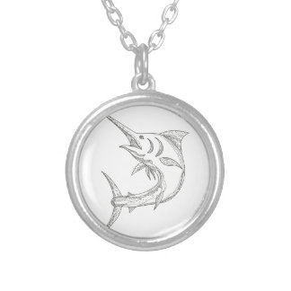 Collier Griffonnage atlantique de Marlin bleu