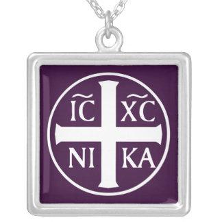 Collier Icône religieuse chrétienne Christogram ICXC NIKA