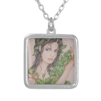 Collier Illustration d'art de crayon de portrait de fille
