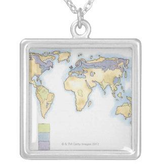 Collier Illustration de la carte du monde montrant des