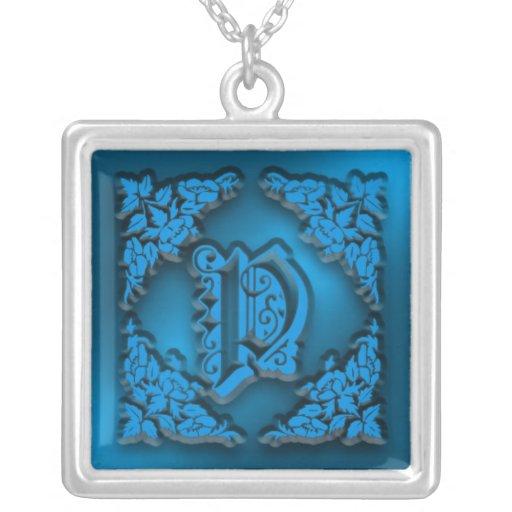 Collier initial bleu de fantaisie de la lettre P
