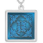 Collier initial bleu de la lettre de fantaisie X