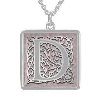 """Collier initial de """"pierre d'argent"""" de monogramme"""