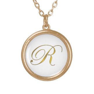 Collier initial du monogramme R d'or