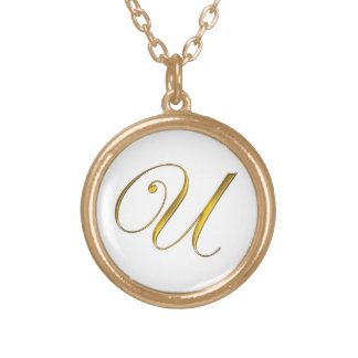 Collier initial du monogramme U d'or