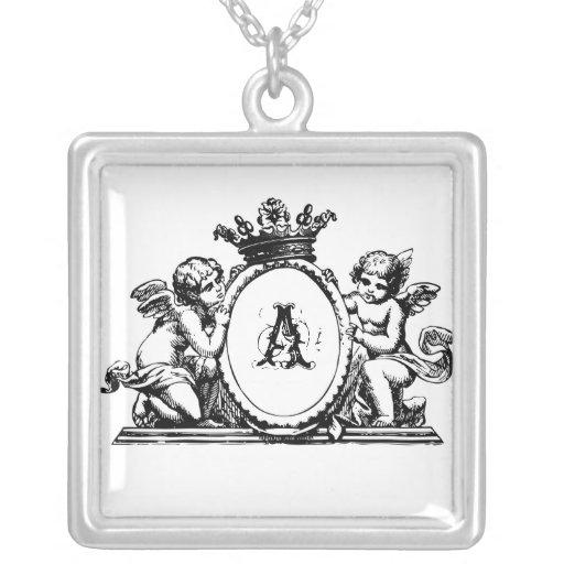 Collier initial personnalisable - couronne et ange