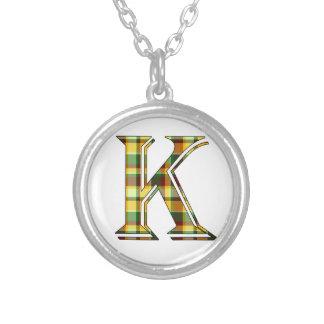 Collier Initiale de plaid de K
