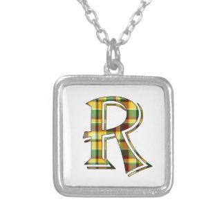 Collier Initiale de plaid de R